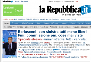 La Repubblica.it, 10/05/2011. Apertura sul video elettorale di Berlusconi.