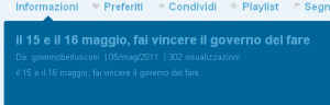 Screenshot del canale di governoberlusconi, con la data dell'upload e il numero di accessi