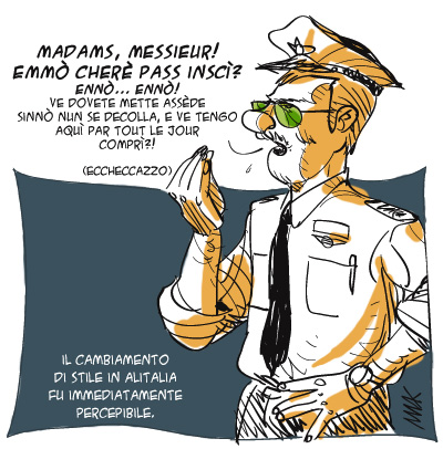 Alitalia passa ad Air France, vignetta di Makkox per webgol.it