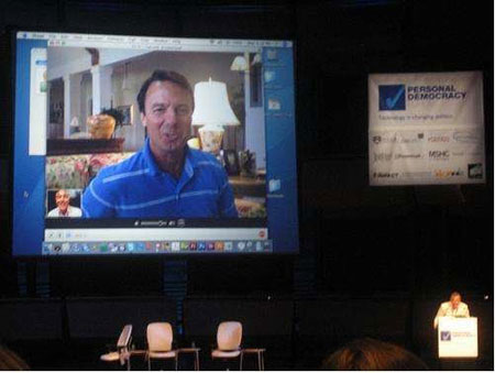 John Edwards Unexpectedly Skypes the Crowd at PdF 2008, photo by Nancy Scola